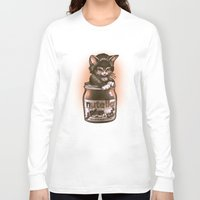 nutella Long Sleeve T-shirts featuring Kitten Loves Nutella by Tim Shumate