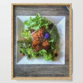 Top view shot photography of Organic  Chicken Karaage Salad with Japanese dressing and soba noodle. Serving Tray