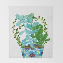 Indian Pot with Succulents Throw Blanket