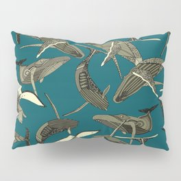 just whales blue Pillow Sham