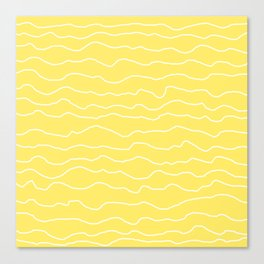 Yellow with White Squiggly Lines Canvas Print