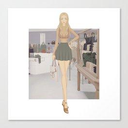Stylized Signature Shopping Fashion Illustration A Canvas Print