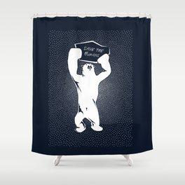 Save the Humans - Polar Bear Holding a Sign Shower Curtain