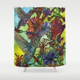 Two Hummingbirds Shower Curtain