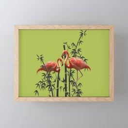 Flamingo Bamboo Leaves green Framed Mini Art Print
