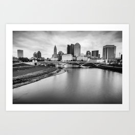 Columbus Ohio Contrasted Monochrome Art Print