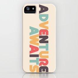 Adventure Awaits Retro Rainbow Typography iPhone Case