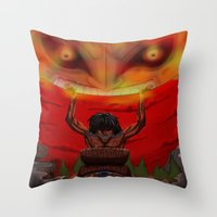 majora Throw Pillows featuring attack on majora! by fangterry