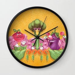 Kitchen Kabaret - Veggie, Veggie, Fruit, Fruit Wall Clock