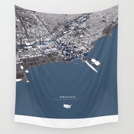 Chicago City Map II Wall Tapestry