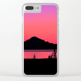 Pink Sunset Silhouette - Mt. Redoubt, Alaska Clear iPhone Case