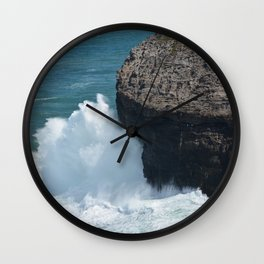 Cliff at Kilauea Lighthouse in Kauai Wall Clock