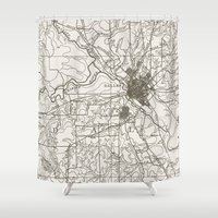 dallas Shower Curtains featuring Dallas Map by Zeke Tucker