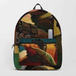 Classical Masterpiece - Instruments of Power - Train, Airplane, Steam by Thomas Hart Benton Backpack