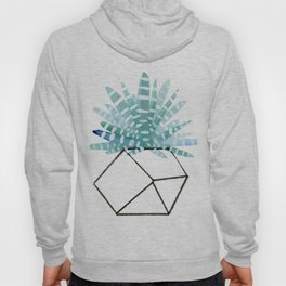 Cacti in Geometric Pot - Green Cactus and Graphic, Black Vase Hoody