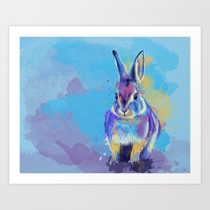 Bunny Dream - Fluffy rabbit illustration, cute animal art Art Print
