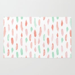 Feather mint pink and white minimal feathers pattern nursery gender neutral boho decor Rug