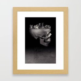 Urban Skull Horror Black and White City Framed Art Print