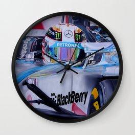 "Lewis Hamilton Finish In Sight"" Wall Clock"