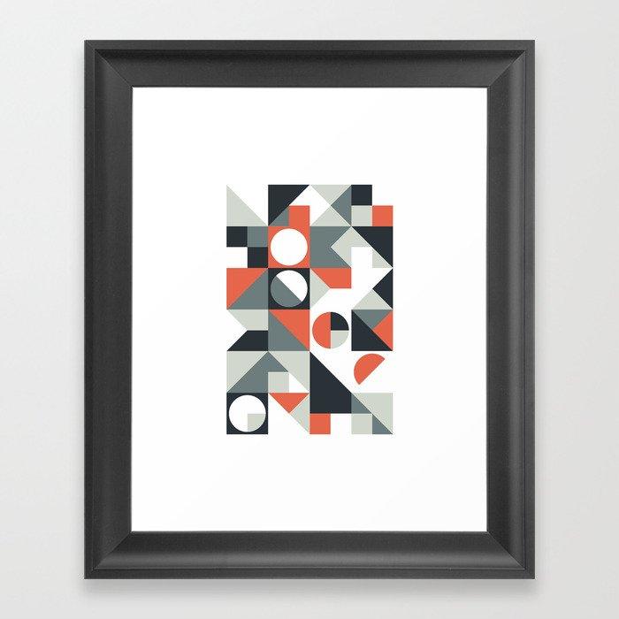Mid Century Geometric 04 Gerahmter Kunstdruck