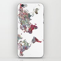 map of the world iPhone & iPod Skins featuring World Map  by MapMapMaps.Watercolors