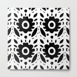 Black and White Bold Flower Pattern Metal Print
