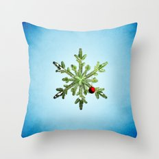 Winter Holidays Pine Snowflake Throw Pillow