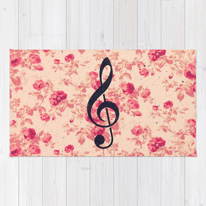 Vintage music note treble clef chic pink flowers rug by girlyroad vintage music note treble clef chic pink flowers rug mightylinksfo