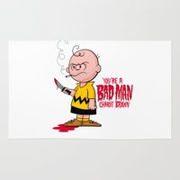 charlie brown Area & Throw Rugs featuring You're a Bad Man Charlie Brown by Chris Piascik