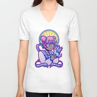magical girl V-neck T-shirts featuring Magical Girl by AndroïdPrïest