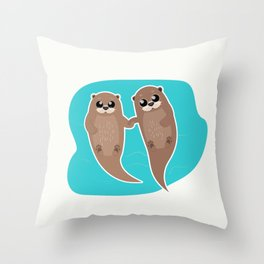 Cute Otters - Cuddle Party Throw Pillow