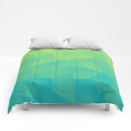 Abstract Geometric Gradient Pattern between Soft Green and Strong Cyan Comforters