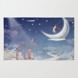 City of children on  fantastic clouds in the sky Rug