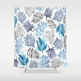 Under the Ocean Watercolor Illustration Pattern Shower Curtain