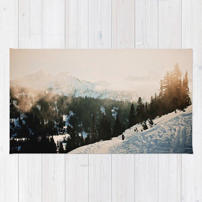 Winter Mountain Hike Rug