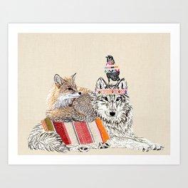 Best friends -wolf, raven, fox Art Print