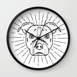 Radiant Dog Print - Black and White Wall Clock