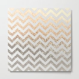 GOLD & SILVER CHEVRON Metal Print