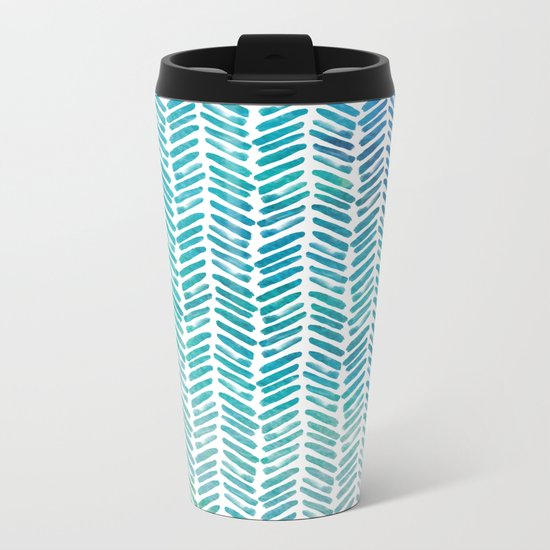 Handpainted Herringbone Chevron pattern-small-aqua watercolor on white Metal Travel Mug