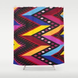 Colored huipil Shower Curtain
