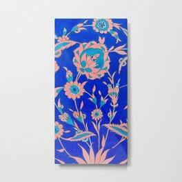 Peach Iznik Tile pattern Metal Print