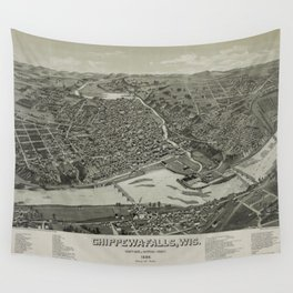 Vintage Pictorial Map of Chippewa Falls WI (1886) Wall Tapestry