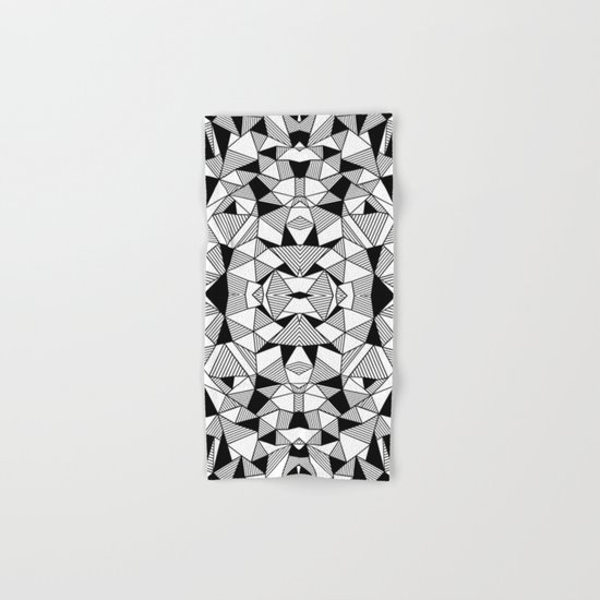 Ab Lines Tile with Black Blocks Hand & Bath Towel