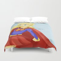 supergirl Duvet Covers featuring Super Girl by Kitty C.