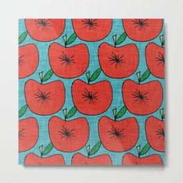Pop Fruit Apple Blue Metal Print
