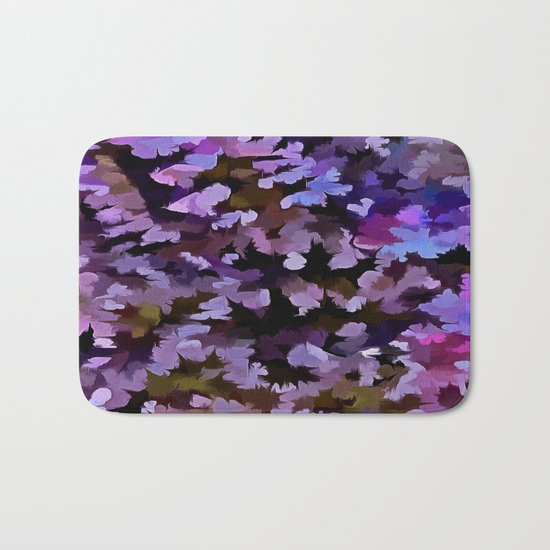 Foliage Abstract In Blue, Pink and Sienna Bath Mat