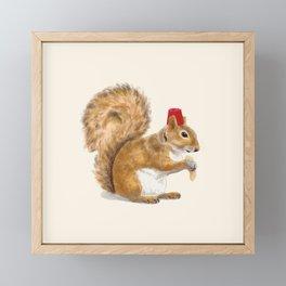 Fez Hat Squirrel Framed Mini Art Print
