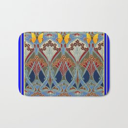 Ornate blue & Yellow Art Nouveau Butterfly Red Designs Bath Mat