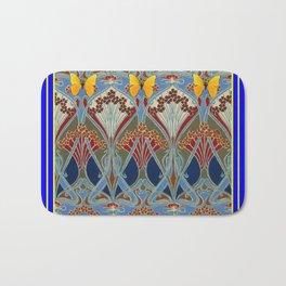Ornate blue & Yellow Art Nouveau Butterfly Red Designs Bath Mat