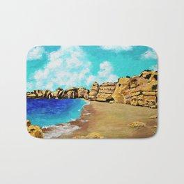 Beach In Albufeira, Portugal by Mike Kraus - seascape beach europe swimming cliffs sky clouds teal Bath Mat